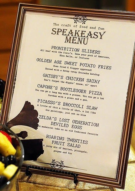 Speakeasy Dinner Party Menu — Love this fun menu for a 1920s themed adult birthday party.
