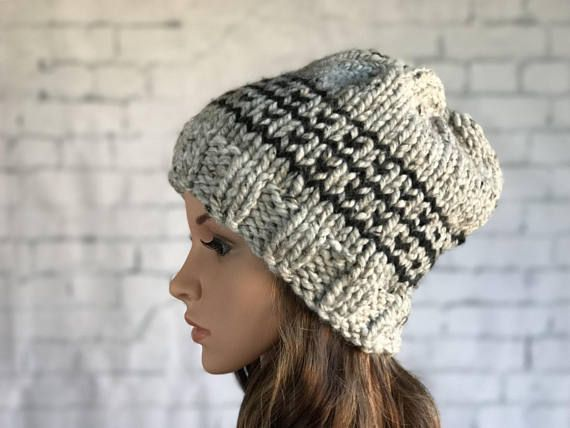 Slouch Knit Hat / Chunky  Winter  Hat /  Women's Winter Hat / Warm Cozy Knitted Hat / Women's Toque / Women's Beanie / Thick Knit Hat