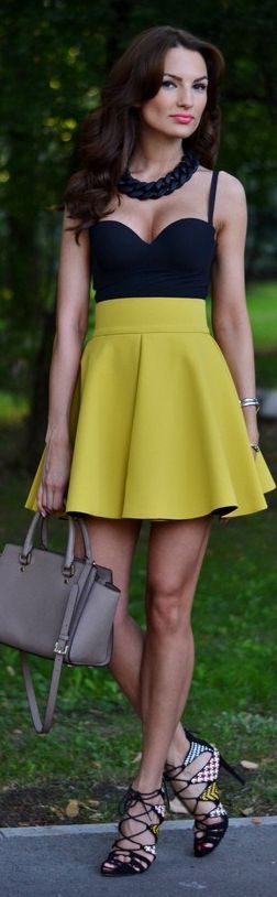 H&m Mustard Soft Pleat High Rise A-skirt by My Silk Fairytale