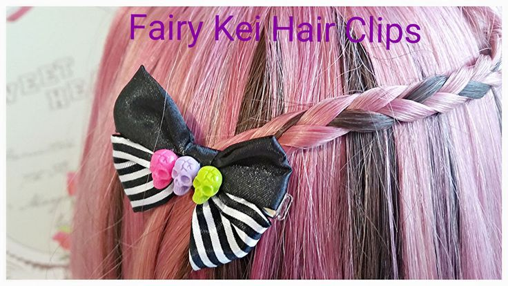 HandMade Skull Ribbon hair clips,Fairy Kei Cute hair clip,Pastel Hair clips #Emicocosweet