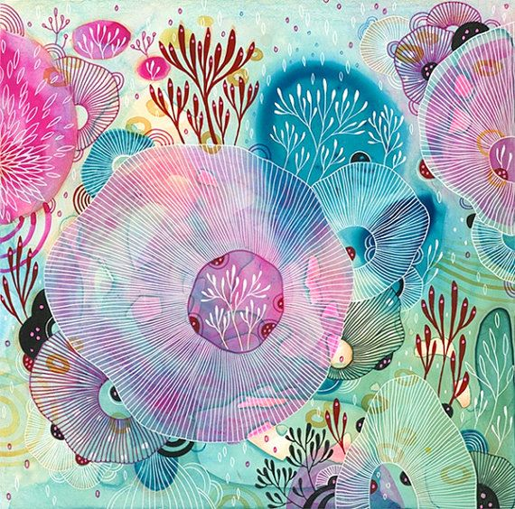 Reef Fine Art Print Giclee Print Watercolor Print by yellena