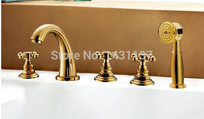 147.11$  Buy here - http://alizwt.worldwells.pw/go.php?t=32275554010 - luxury brass material Europe style gold plating widespread bathroom bathtub faucet five pieces bath faucet 147.11$