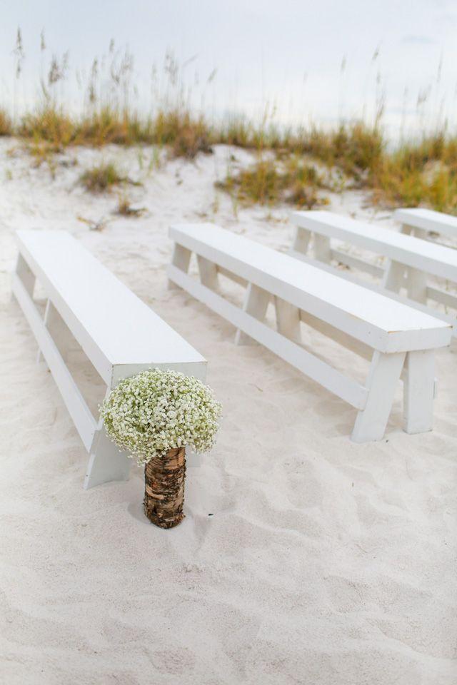baby's breath & benches beach ceremony decor / photo: katescaptures.com