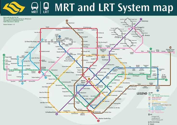 MRT line by 2030 Singapore map, System map, Singapore