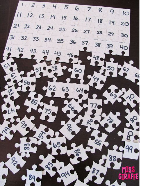Building Number Sense in First Grade - use a dollar store 100 piece puzzle to make a cheap and easy math center.. so many great ideas on this blog!!