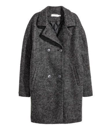Dark gray. Double-breasted, straight-cut coat in woven wool-blend fabric with lapels and welt front pockets. Lined.