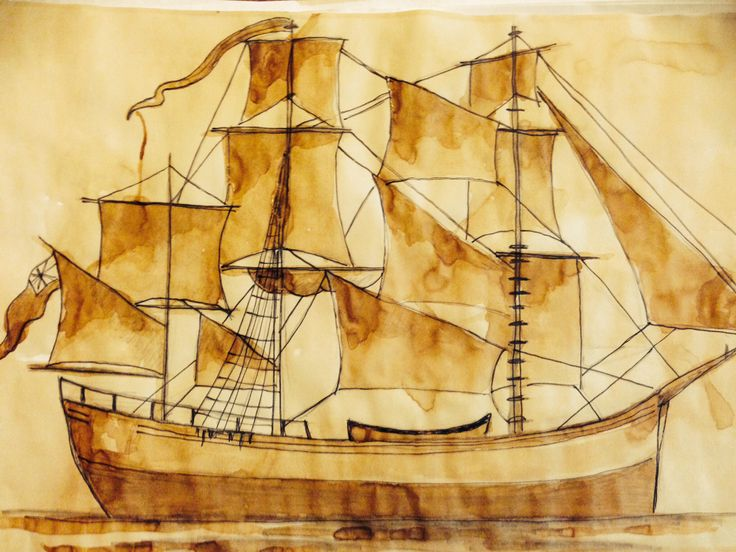 Drawing one of the First Fleet ships for our inquiry into Australian History. Stained with coffee to age.
