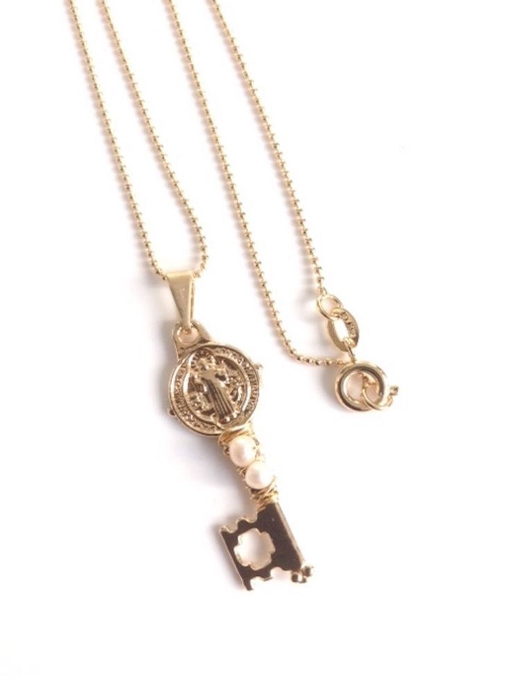 Gold St Benedict Key Charm Necklace - 18k gold plated ball chain - Llave de San Benito