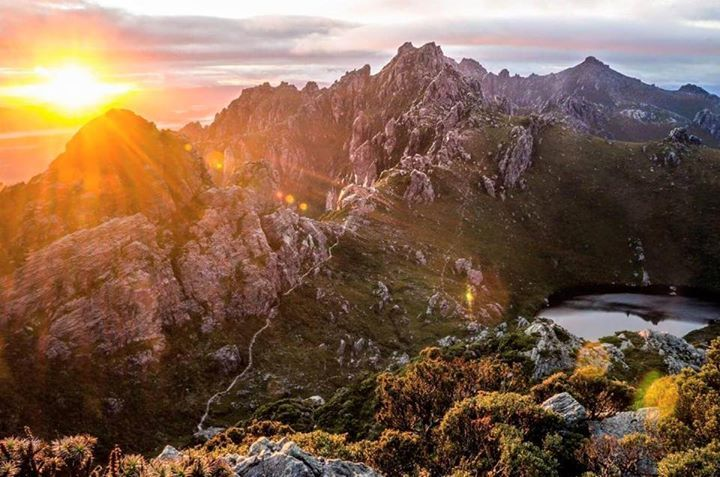Beautiful sunrise captured in the Arthur Range in the South West of Tasmania…