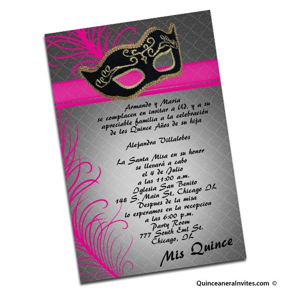 This is a quinceanera invite but I like the design of it for a masquerade party.