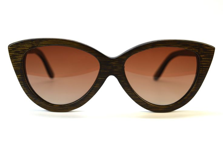 Cat Eye Sunglasses made from Brown Stained Bamboo