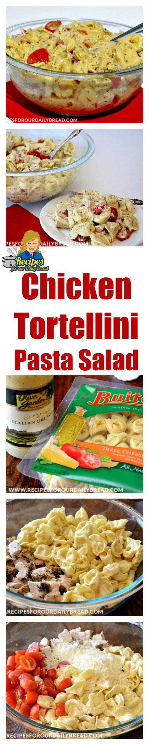 Chicken Tortellini Pasta Salad includes chicken, Tortellini, garlic, Italian seasoning, tomatoes, cucumbers and Italian cheese.