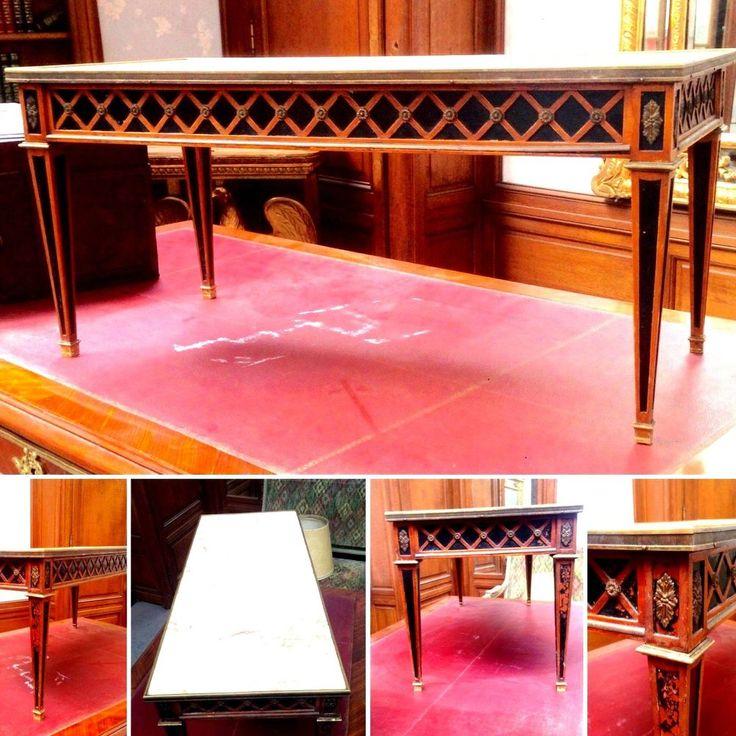 table basse années 40 dessus marbre galerie bronze décor croissill. XX siècle .