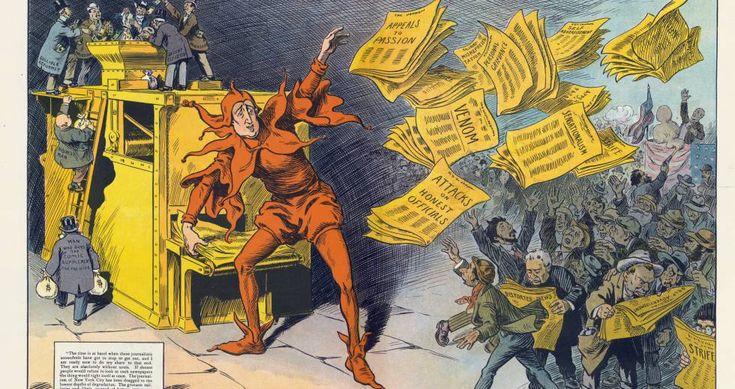 A imprensa amarela, de M. Slackens, em que se mostra W. Randolph Hearst como um bobo da corte que divulga notícias. Publicado por Keppler & Schwarzmann em 1910.BIBLIOTECA DEL CONGRESO DE