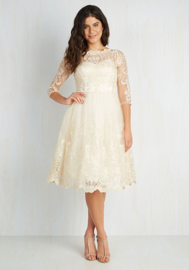 Gilded Grace Dress in Champagne by Chi Chi London - Sheer, Knit, Lace, Wedding, Bride, White, Solid, Lace, 3/4 Sleeve, Better, Tan / Cream, Embroidery, Scallops, Vintage Inspired, Spring, Full-Size Run, Special Occasion, 50s, 60s, Fit & Flare