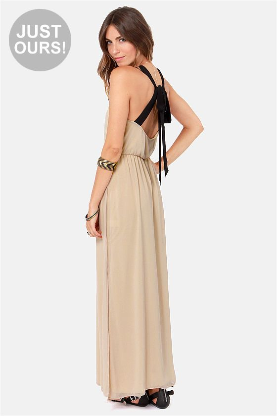 'Slit to be Tied Beige Maxi Dress' It's dresses like these that make me wish I could go bra-less :(