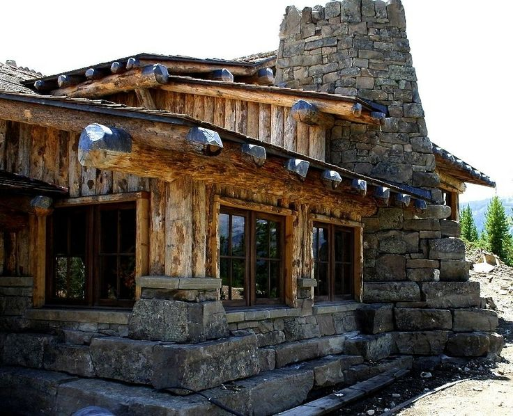 Log stone cabin starter cabin pinterest for Log and stone homes
