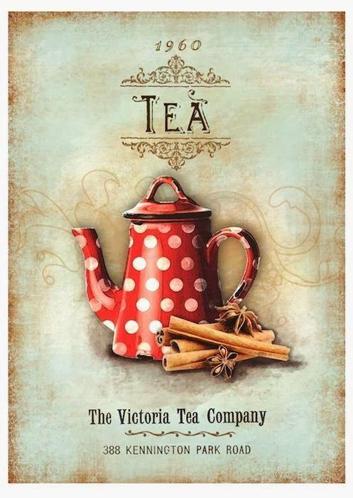 Vintage tea tetera lámina para decoración