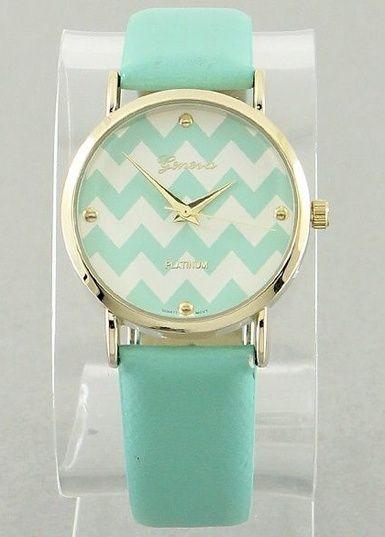 $19.00 Wrist Watch Chevron Time Mint - Kelly Brett Boutique
