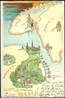 Hilsen fra Norden. Brukt i 1901.