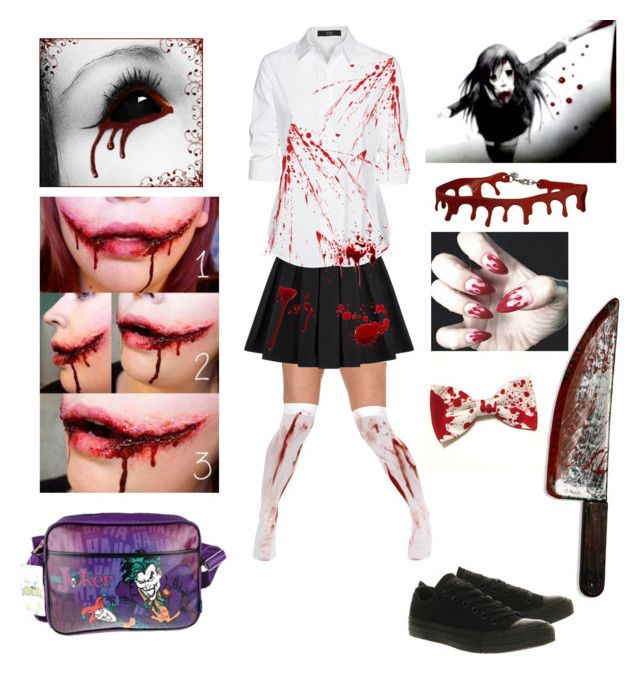 """Halloween costume idea #17 (Dead School Girl)"" by shadow-cheshire ❤ liked on Polyvore featuring Balmain, Retrò, Steffen Schraut and Converse"