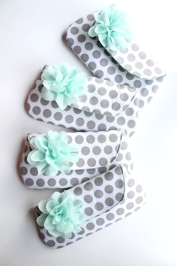 Bridesmaid Clutches Gray and Mint Wedding Clutch by allisajacobs
