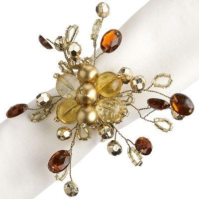 Beaded Gold & Amber Flower Napkin Ring