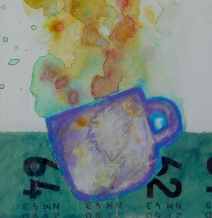 'A Cup of Tea and a Think' acrylics and collage on paper
