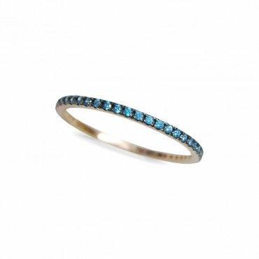 Μοντέρνο γυναικείο ολόβερο λεπτό δαχτυλίδι από ροζ χρυσό Κ14 σειρέ με μπλε πέτρες ζίργκον σε όλο το μήκος | Δαχτυλίδια ΤΣΑΛΔΑΡΗΣ στο Χαλάνδρι #σειρέ #ζιργκον #χρυσο #δαχτυλίδι #rings