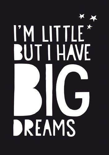 <p><strong></strong>Een prachtige poster voor de baby of kinderkamer met de tekst I'm little but I have Big Dreams. <br />De poster is offset gedrukt op 250 grams mat silk papier.</p>