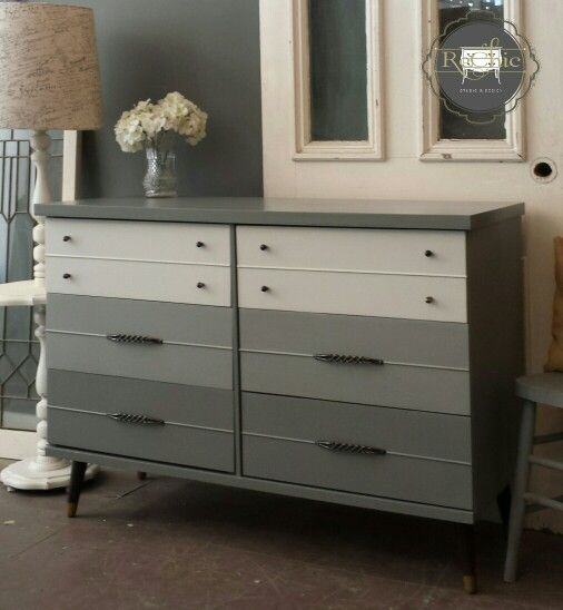 Clean and modern grey ombre mid century dresser painted for How to mix grey paint