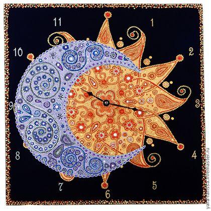 """Часы для дома ручной работы. Ярмарка Мастеров - ручная работа """"День-Ночь"""" Часы настенные интерьерные. Handmade."""