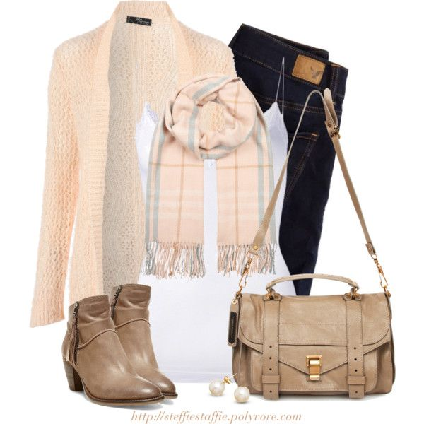 Pastel Plaid Scarf, cardigan & ankle boots, created by steffiestaffie on Polyvore