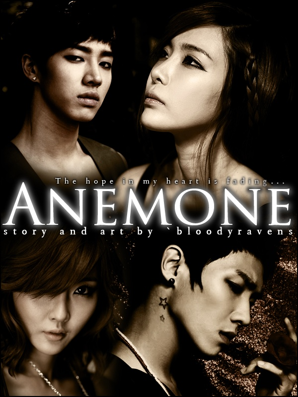 The poster for my story, Anemone. I haven't even started writing it yet though XD.  This story features celebrities Lee Kikwang of B2ST/BEAST and Lee Changsun (AKA Joon) of MBLAQ. It also features two of my own fictional characters, Cho Hyorim (lower left corner) who is illustrated using the model Choi Byul Yee and Hwang Aerin (upper right corner) who is illustrated using model Jo Sehee.