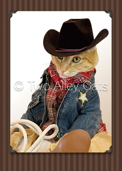 Invitation Unicorn Two Alley Cats #cowboy #birthday | Party Kitties | Cowboy