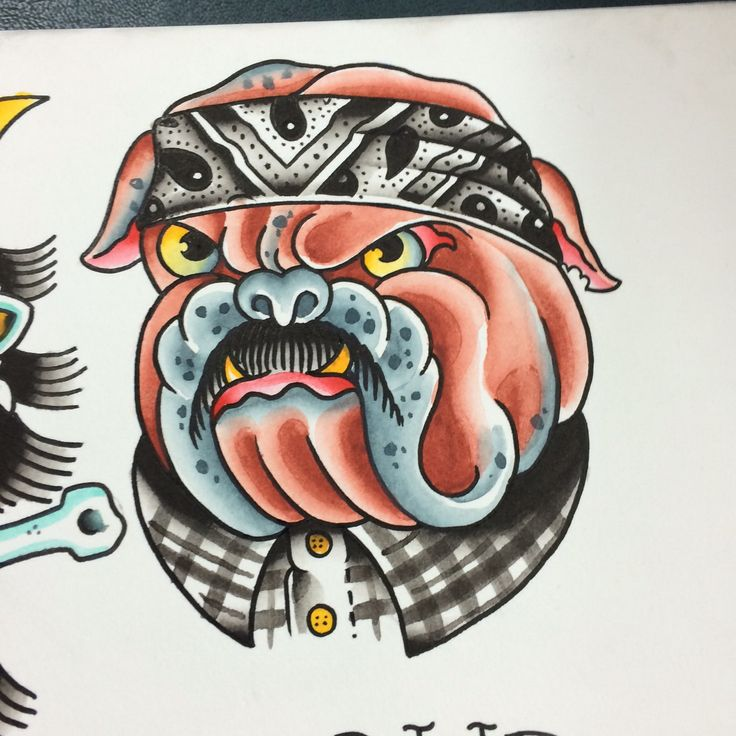 Bulldog tattoo american traditional tattoo by sean huston for Sailors grave tattoo gallery