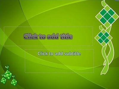 Ketupat - simple template, special background for title slide, ketupat vector art, custom title text with wordart style, default and standard font, easy to use.