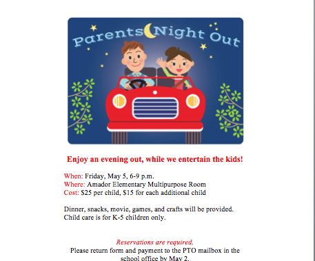 Parents Night Out flyer. Your group offers baby siting services to give parents a break!