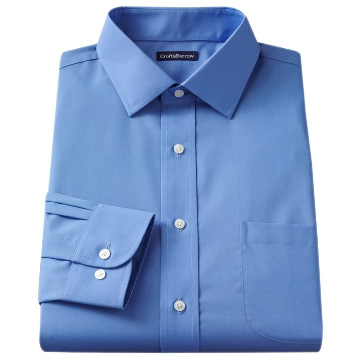 Men's Croft & Barrow® Classic-Fit Easy Care Solid Spread-Collar Dress Shirt, Size: 16.5-32/33, Blue (Navy)