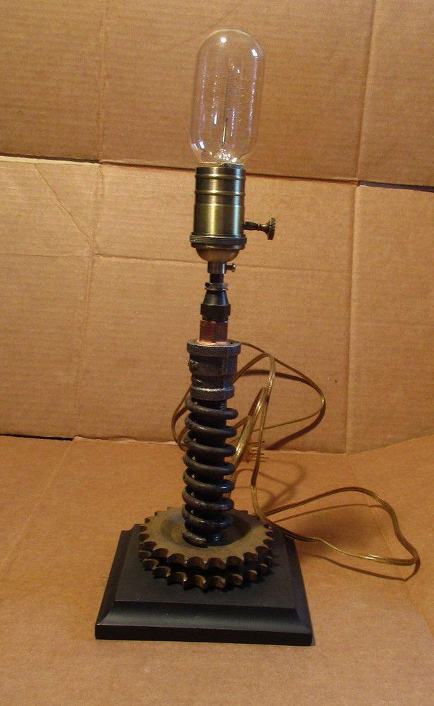 Steampunk style lamp iron pipe brassindustrial repurpose