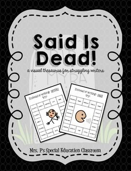 Said is Dead! A Visual Thesaurus for Struggling WritersIncludes 16 synonyms for common words & a visual to assist in defining the common words.-said-nice-good-bad-sad-happy-laughed-like-big-little-ran-walked-pretty -look-scared-mad-gross-smart-creative -went**Used in a Center-Based Special Education Classroom**Follow Me on Facebook: Mrs.