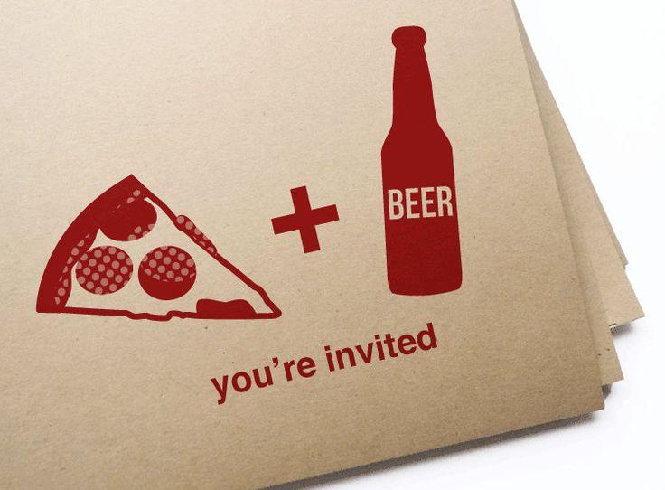 diy printable pizza  u0026 beer invitation postcard by