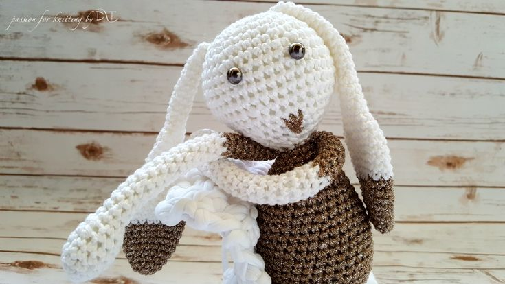 Crochet handmade Bunny glitter brown https://www.facebook.com/DLThandmade/ #crochetbunny made with love for a happy childhood #crochettoy #DLThandmade #passionforknitting
