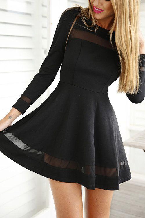 Black Mesh Details Round Neck Long Sleeves Mini Dress