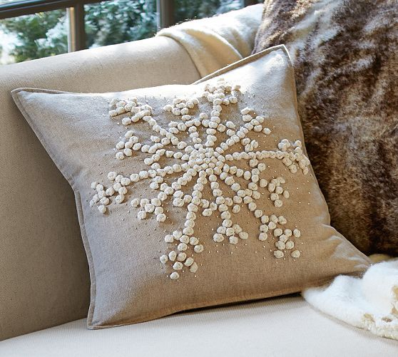 Knotted Snowflake Embroidered Pillow Cover | Pottery Barn $59.50 18 inch square