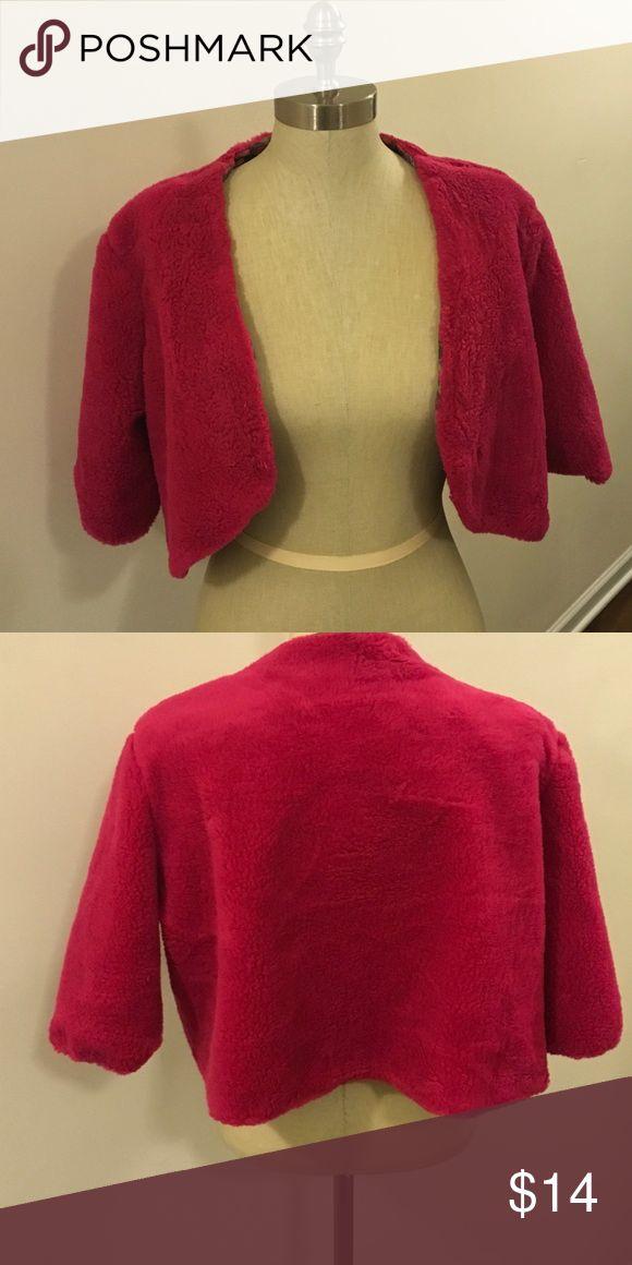 Size Medium faux fur bolero. Size Medium faux fur bolero.  Has front hook and eye closure and a full lining. Hope Wallace Jackets & Coats