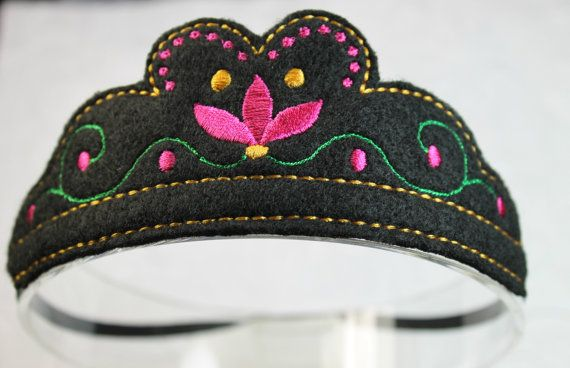 A beautiful Anna Crown for your little princess!! Embroidered on high quality black felt with green, yellow, raspberry and black stitching on a U