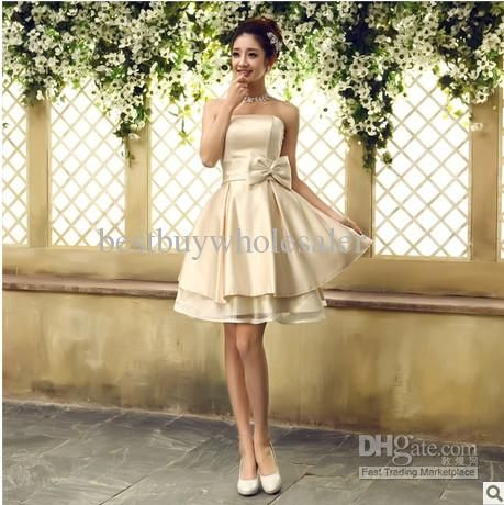 Wholesale 2013 new arrived cheap fashion Strapless short bridesmaid dress Champagne Princess dress, Free shipping, $44.8-48.16/Piece | DHgate