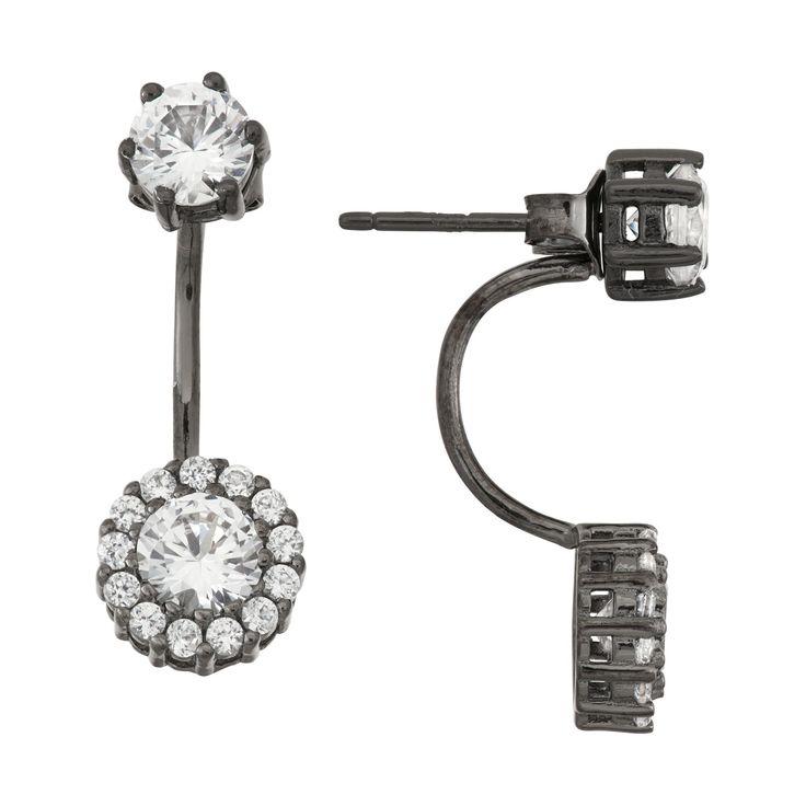 2 2/9 Tcw Tiara Sterling Silver Black Rhodium White Sapphire Halo Flower Drop Earrings, Women's