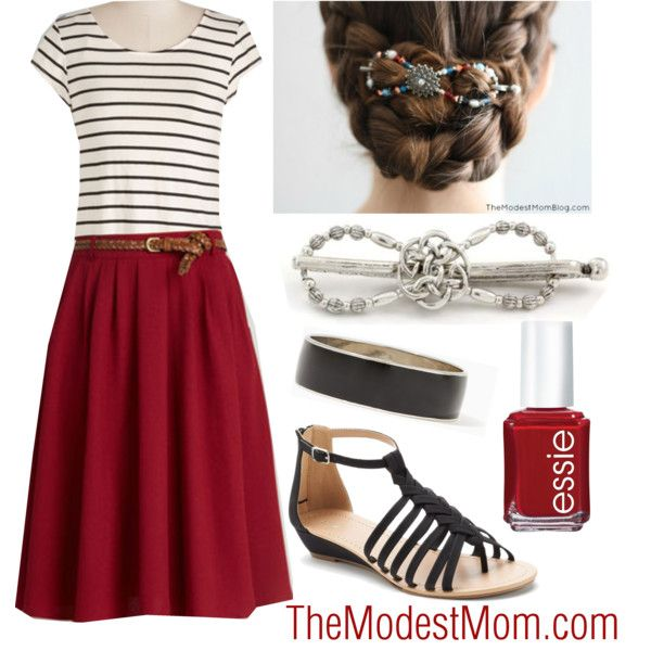 A New Kind of Nautical - The Modest Mom by deborah-and-co on Polyvore featuring Apt. 9, Essie, Modest, summeroutfit and springsummer2015